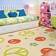 KIDS RUGS KIDS AREA RUG CHILDRENS RUGS PLAYROOM RUGS FOR KIDS ROOM PEACE  FLOWER Kids Area