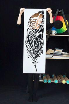 Waldfeder Wandschablone für DIY Projekt von StenCilit auf Etsy