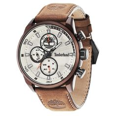 Shop Men's Henniker II Watch White/Brown today at Timberland. The official Timberland online store. Moda Timberland, Timberland Style, Timberland Watches, Timberland Fashion, Brown Leather Watch, Skeleton Watches, Timberlands, Hand Watch, Seiko Watches