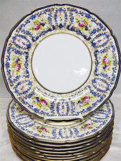 12 Royal Doulton RA9432 Blue & Chintz Dinner Plates