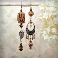 Good Earth - OOAK Asymmetrical Tribal Earrings by MiaMontgomery