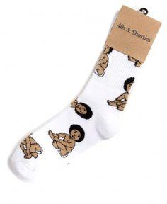40's & Shorties - Biggie Baby Socks (White) - $12