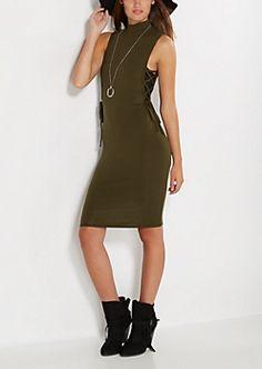 Dark Olive Lace-Up Dress