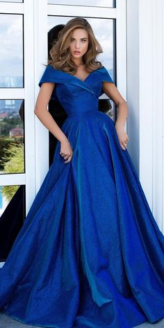 Something Blue: 30 Blue Wedding Gowns For your Happy Wedding ❤  blue wedding dresses navy off the shoulder a line tarikedizofficial #weddingforward #wedding #bride Blue Wedding Gowns, White Bridal Dresses, Prom Dresses, Formal Dresses, Fabulous Dresses, Pretty Dresses, Glitter Dress, Perfect Prom Dress, Fitted Bodice
