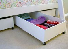 Underbed Storage Under Bed Storage Drawers Not Your Mom's Underbed Storage: 10 Creative Ways to Make… 10 Clever Toy Storage Dorm Storage, Diy Storage Boxes, Storage Hacks, Bedroom Storage, Extra Storage, Plywood Storage, Plywood Boxes, Cardboard Boxes, Smart Storage