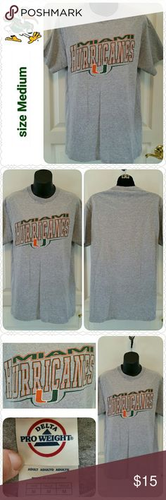 "NEW Miami Hurricanes t-shirt, size M NEW without tags, Miami Hurricanes short-sleeved t-shirt.  * Size Medium  * Delta Pro-weight brand  * Color heather grey * 90% pre-shrunk cotton, 10% poly  * 18 1/2"" shoulders, 38"" chest  * Perfect condition, no flaws  * Non-smoking home  * Thanks for visiting my closet!  Aurora33180 Shirts Tees - Short Sleeve"