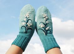 Blue Knitted Wool Mittens with berries Christmas by MySunsetColor, $39.50