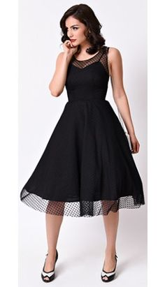 Unique Vintage 1950s Black Heart Dot High Society Swing Dress