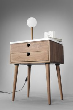 Walnut Mid-Century Scandinavian bedside Table / by Habitables