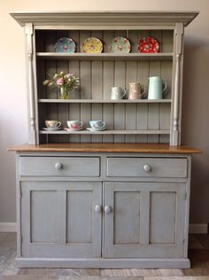 Antique Vintage Victorian Country Dresser Hand Painted Annie Sloan Paris Grey Solid Pine Freestanding Kitchen Unit Welsh Style by ClyneCoFurniture on Etsy