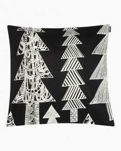 Made from cotton, this cushion cover features the Kuusikossa pattern. The cover has a concealed zipper on one side.The Kuusikosssa (in a spruce forest) pattern takes you to a magical forest where every tree is unique and special. Black Cushions, Magical Forest, Marimekko, Cushion Covers, Black And White, Pattern, Koti, Xmas, Navidad