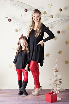 Mommy Red Sequin Legging