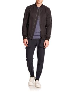 Helmut lang Cotton Twill Bomber Jacket in Black for Men | Lyst