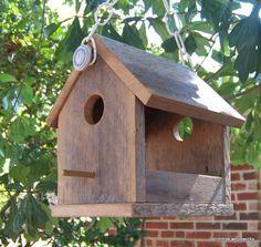 Wooden Bird House Bird Feeder Reclaimed by PrimitiveWoodworks
