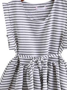 Shop Black White Round Neck Style Striped Dip Hem Top online. SheIn offers Black White Round Neck Style Striped Dip Hem Top & more to fit your fashionable needs.
