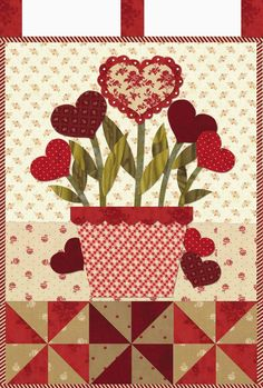 """February mini quilt, 12 x 18"""", in: Little Blessings Wallhanging Club.  Design by Jennifer Bosworth at Shabby Fabrics."""