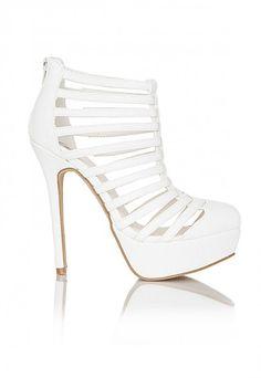White Strappy Platform Heels