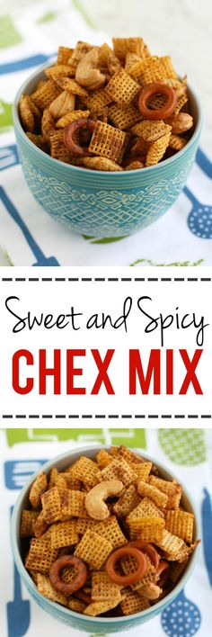 Sweet and spicy chex mix - people always BEG me for this recipe! So good!