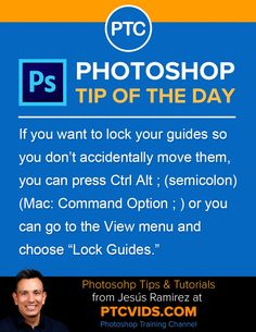 Photoshop tip of the day If you want to lock your guides so you do not accidentally move them you can press ctrl alt or you can go to the view menu and choose lock guides Adobe Photoshop, Photoshop Elements, Photoshop Tutorial, Photoshop Actions, Lightroom, Photography Software, Photography Lessons, Photoshop Photography, Photography Business