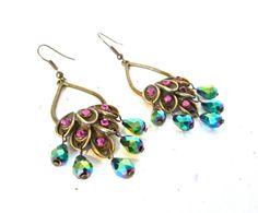 pretty!!   Peacock Green Chandelier Earrings (Swarovski) - by mintlilly, $20.00