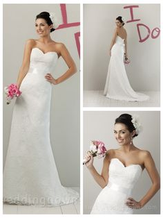 IMPRESSION LACE STRAPLESS SWEETHEART MODIFIED A-LINE SUMMER WEDDING DRESS