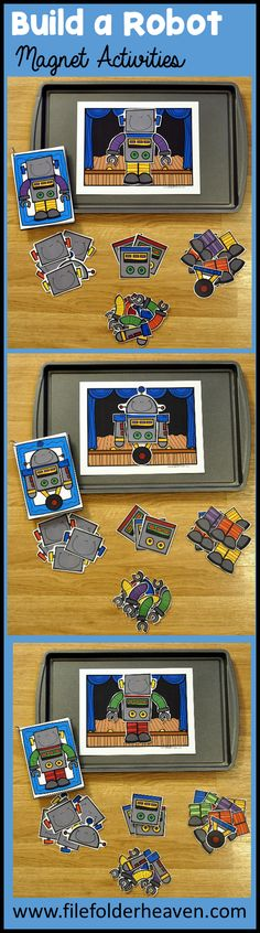 """These Build a Robot Center Activities can be set up as cookie sheet activities, a magnet center or completed as cut and glue activities. This activity includes: 1 background, 14 build a robot example cards, and a big set of """"build a robot"""" building pieces for creative building (all in color).  In this activity, students work on visual discrimination skills, recognizing same and different, and replicating a model."""