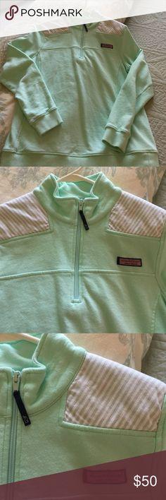 Vineyard Vines Shep Shirt women's Medium EUC Shep Shirt from Vineyard Vines. Size Medium. Mint green, grey oxford stripe on shoulders. Worn twice. EUC. Vineyard Vines Jackets & Coats