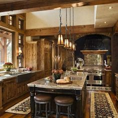 [ Rustic House Design Western Style Ontario Residence Digsdigs Country Kitchen Designs Country Kitchen Ideas Country Kitchens Country ] - Best Free Home Design Idea & Inspiration Rustic Kitchen Cabinets, Rustic Kitchen Design, Interior Design Kitchen, Rustic Kitchens, Kitchen Designs, Italian Kitchens, Rustic Design, Rustic Homes, Country Kitchens