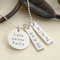 Love Never Fails - Personalized hand stamped necklace. $43.00, via Etsy.