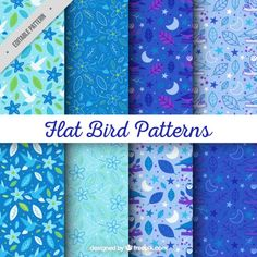 Collection of hand drawn floral and leaves pattern in blue tones Free Vector