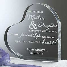 ... mother-daughter sentiment on it. A gift Mom would treasure always