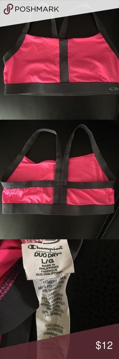 Champion Duo Dry Sports Bra Champion brand Sports Bra. Size L. Pink & grey. Great condition! Purchased from 🎯. Champion Intimates & Sleepwear Bras