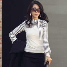 Plus Size High Neck Long Sleeves Striped Patchwork Slim Blouse