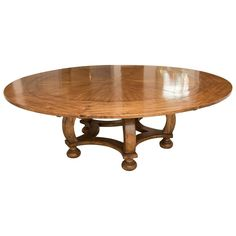 Walnut Round Dining Table | From a unique collection of antique and modern dining room tables at https://www.1stdibs.com/furniture/tables/dining-room-tables/