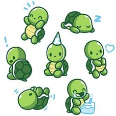 Limited Edition 2019 TeeTurtle Birthday Shirt T-shirt TeeTurtle white t-shirt featuring 7 turtles all doing different things such as eating birthday cake, sleeping wearing a party hat, etc. Cute Turtle Drawings, Cute Animal Drawings, Kawaii Drawings, Cartoon Drawings, Easy Drawings, Happy Turtle, Turtle Love, Pet Turtle, Turtle Neck