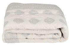 Bavlněný přehoz Silver pattern white 180x130 | Bella Rose