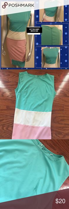 Cotton Candy Color Dress Nice dress. Polyester like material. Some spandex stretch. The dress has a zipper in the back. Size Small/medium Dresses Midi