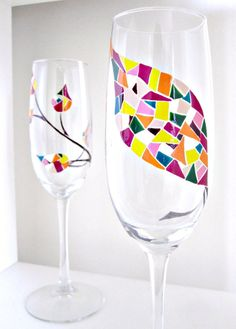 Autumn Leaves Wedding Champagne Flutes- Set of 2- Bride and Groom Hand Painted Glassware