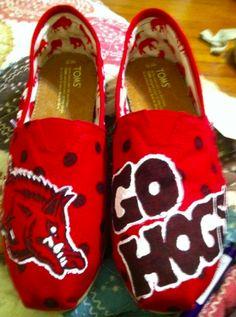 Razorback TOMS  http://www.facebook.com/pages/Saras-Shoes/124513320980321 #hogs #razorbacks #sarassshoes #wps #uofa #arkansas #TOMS