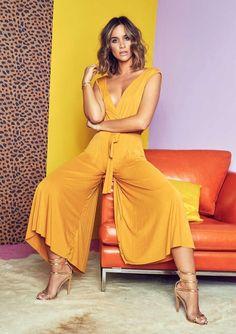 ecb8d40ba806 Missyempire - Hannah Mustard Slinky Sleeveless Culotte Jumpsuit Mustard  Jumpsuit