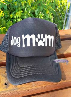 """""""Dog Mom"""" trucker hat. This hat is perfect for those fabulous ladies that are moms of a dog(s). Buy yours now at Jourdan's {Handmade} Jewels on Etsy.    Dog Mom, Dog Mama, I love dogs, I love my dogs. Gift for her."""