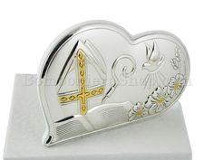Icona cresima cuore in laminato argento