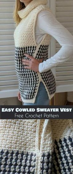 Easy Cowled Sweater Vest [Free Crochet Pattern] - Crochet and Knitting Patterns : Easy Cowled Sweater Vest [Free Crochet Pattern] - Crochet and Knitting Patterns Gilet Crochet, Crochet Cardigan, Crochet Shawl, Easy Crochet, Crochet Baby, Crochet Vests, Crochet Sweaters, Crochet Tops, Women's Sweaters