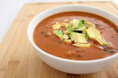 Tomato Soup with Pinto Beans and Avocado. Protein-packed, dairy-free and vegan.