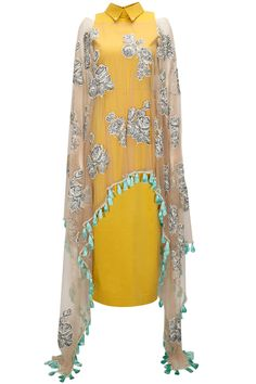 Archana Rao - Mustard net overlay collared dress available only at Pernia's Pop-Up Shop. Indian Attire, Indian Wear, Indian Dresses, Indian Outfits, Desi Clothes, Indian Clothes, Kurti Styles, Indian Fashion, Womens Fashion