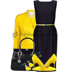 Navy & Yellow by mhuffman1282 on Polyvore