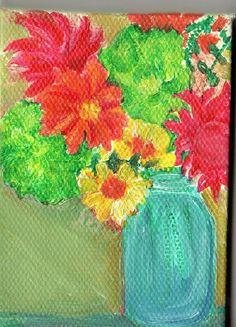 Zinnias Dahlias Lime Hydrangeas in Canning Jar by SharonFosterArt, $22.00