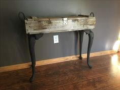 Ammunition box repurposed into sofa table. Ammo Boxes, Old Tool Boxes, Wood Boxes, Refurbishing Furniture, Painted Furniture, Wooden Trunks, Gun Rooms, Glass Insulators, Bed Table