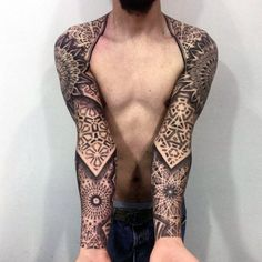 Cool Dark Mandala Patterned Tattoo Mens Full Sleeve