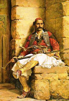 Kλέφτης στην περιοχή της Ηπείρου. Ο πίνακας βρίσκεται στο Μουσείο Βρέλη.